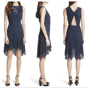 JOIE Bridley Navy Lace Hi-low Daytime Midi Dress